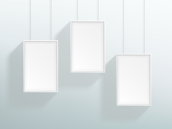 Blank white realistic hanging frames design vector free download