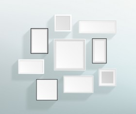 Blank white with black realistic frames on the wall vector