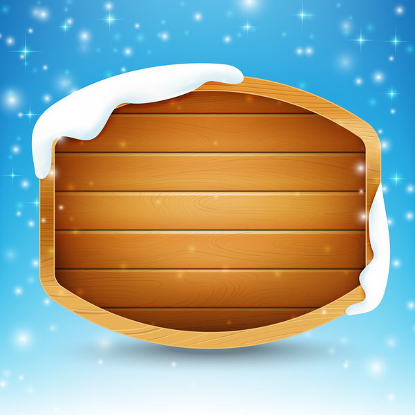 Blank wooden sign with snow and star light vector illustration 02