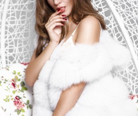 Blonde with fur coat HD picture