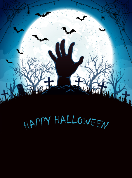 Blue Halloween background with Moon and hand on cemetery vector