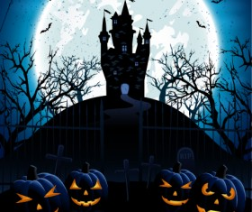 Blue Halloween background with castle and pumpkins vector