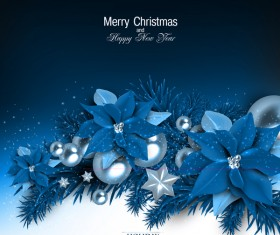 Blue flower decor with christmas and new year holiday background 01