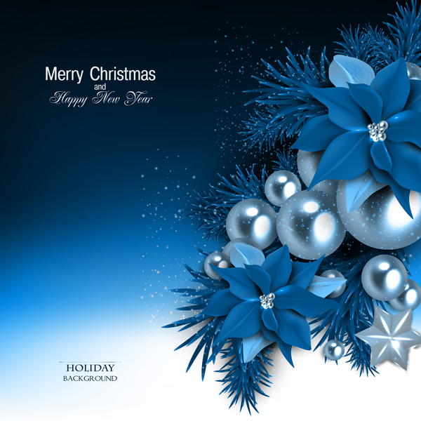 blue flower decor with christmas and new year holiday background 02