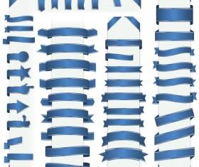 Blue ribbon banners vectors 01