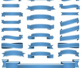 Blue ribbon banners vectors 02