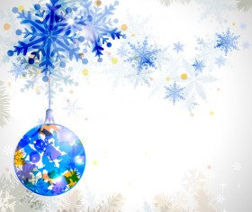 Blue snowflake christmas background vectors material 01