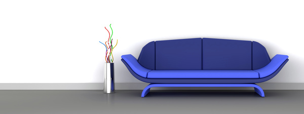 Blue sofa with gray background HD picture