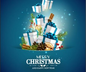 Blue styles christmas with new year vector greeting card