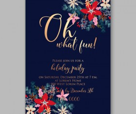 Blue wedding cards template with elegant flower vector 20