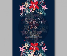 Blue wedding cards template with elegant flower vector 16