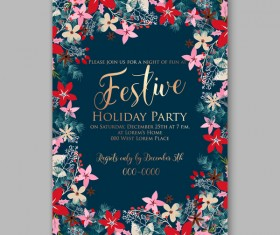Blue wedding cards template with elegant flower vector 17