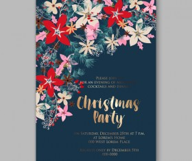 Blue wedding cards template with elegant flower vector 18