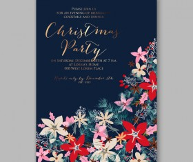 Blue wedding cards template with elegant flower vector 19