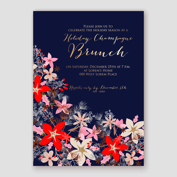 Blue wedding cards template with elegant flower vector 21
