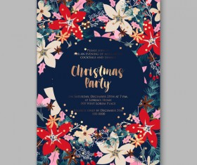 Blue wedding cards template with elegant flower vector 22