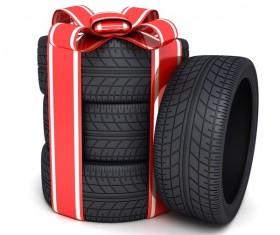 Bundled car tires Stock Photo
