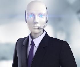 Business dress up robots Stock Photo