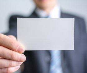 Business people with white card Stock Photo 01