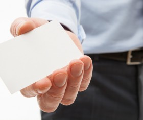 Business people with white card Stock Photo 02