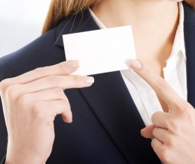 Business woman with white business card Stock Photo 01