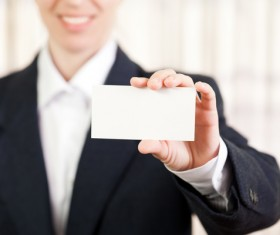 Business woman with white business card Stock Photo 02