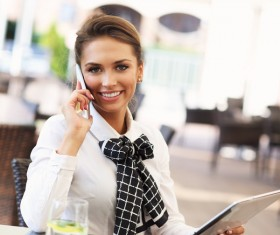 Cafe Young business woman HD picture