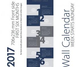Calendar 2017 first six month dark blue gray vector