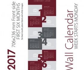 Calendar 2017 first six month maroon gray vector