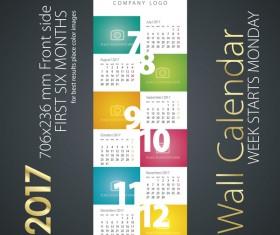 Calendar 2017 next six month color vector