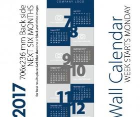 Calendar 2017 next six month dark blue gray vector