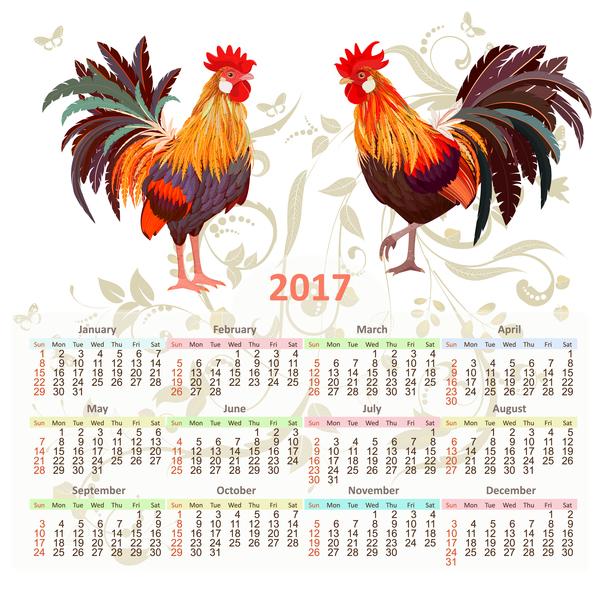 ... rooster 2017 vector template 04 - Vector Calendar free download