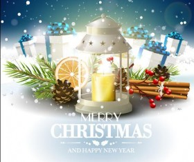 Candle light with christmas vector greeting card