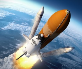 Carrying the space shuttle took off the rocket and the earth