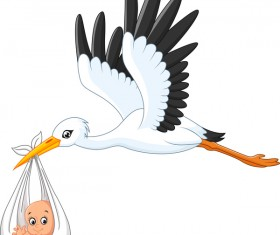 Cartoon stork with cute baby vectors 01