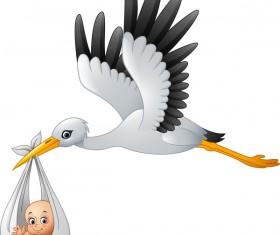Cartoon stork with cute baby vectors 03