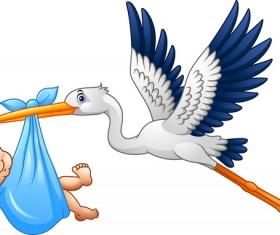 Cartoon stork with cute baby vectors 04