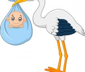 Cartoon stork with cute baby vectors 06