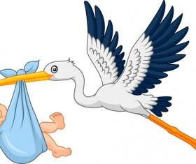 Cartoon stork with cute baby vectors 07