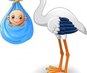 Cartoon stork with cute baby vectors 08