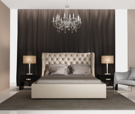 Chic bedroom with bedside lamp and chandelier HD picture