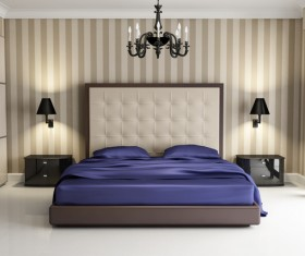 Chic bedroom with black wall lamp HD picture