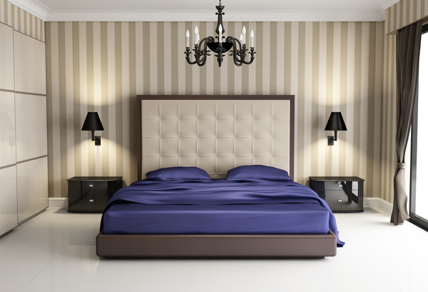 Chic Bedroom With Black Wall Lamp Hd Picture Interiors