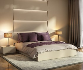Chic bedrooms with bedside lamps HD picture 03
