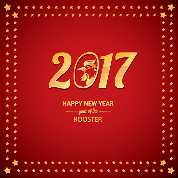 chinese new year 2017 with rooster and red background vector 06