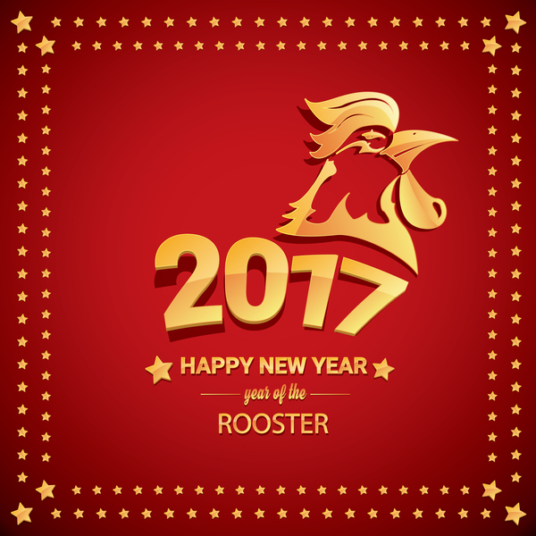 chinese new year 2017 with rooster and red background vector 07 - When Is Chinese New Year 2017