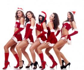Christmas Dress up dancing woman Stock Photo