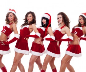 Christmas Dress up woman Stock Photo 02