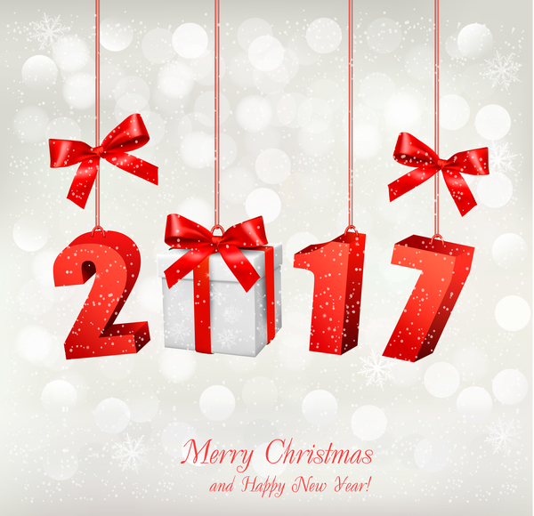 Christmas Background With 2017 With Gift Box Vector