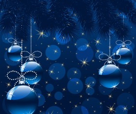 Christmas background with blue balls vector material